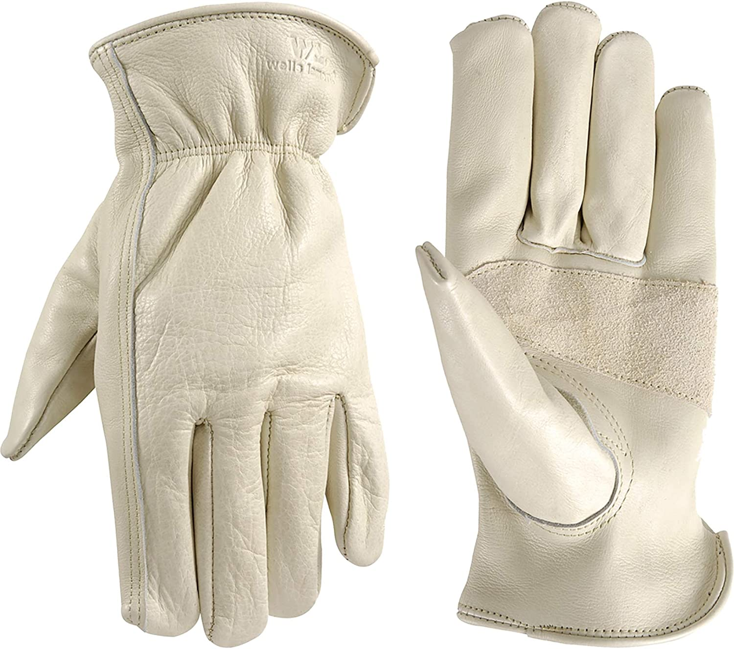 Leather Work Gloves with Reinforced Palm, DIY, Yardwork, Construction, Motorcycle, X-Large (Wells Lamont 1130XL)