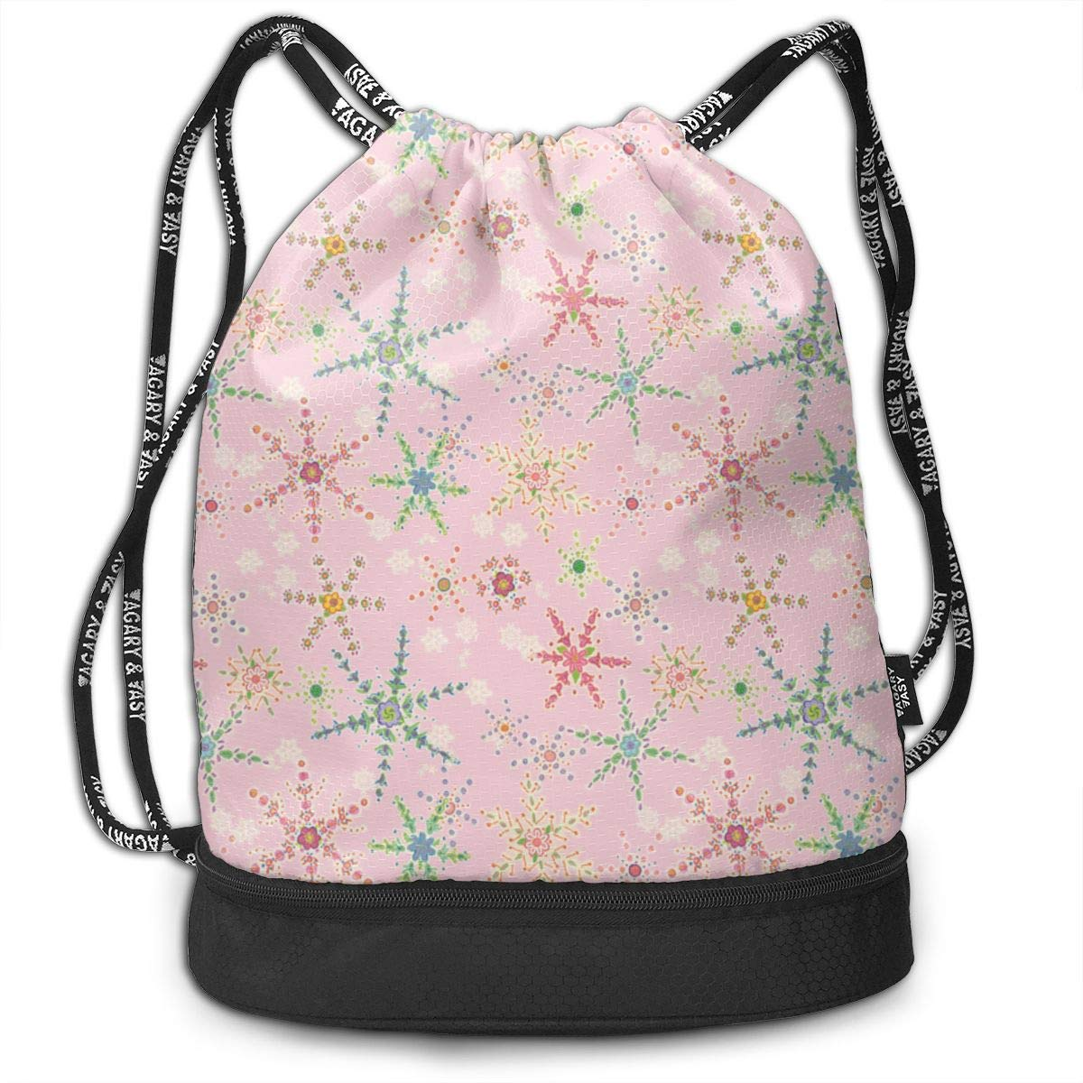 Snowflower Pink Drawstring Backpack Sports Athletic Gym Cinch Sack String Storage Bags for Hiking Travel Beach