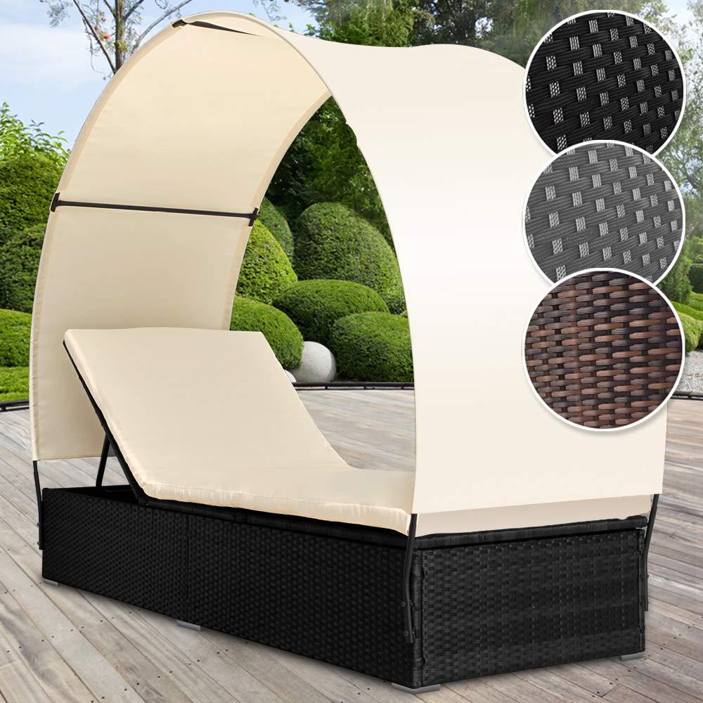 Rattan Sonnenliege mit Abnehmbaren Dach | Farbwahl, 196 cm Liegefläche, 4-fach Höhenverstellbar | Polyrattan Gartenliege, Rattanliege, Relaxliege
