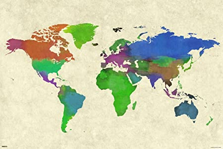 Grindstore laminated world map watercolor maxi poster 61x915cm grindstore laminated world map watercolor maxi poster 61x915cm publicscrutiny Choice Image