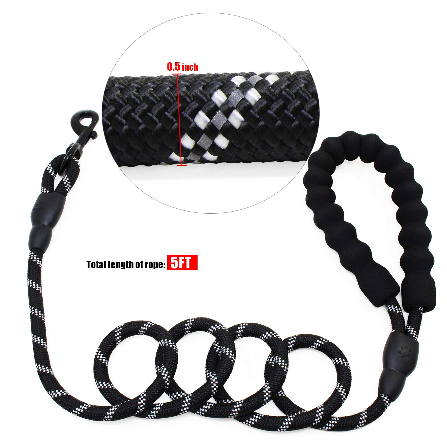 Medium and Large Dogs abcGoodefg 5 FT Strong Heavy Duty Dog Leash Lead with Soft Padded Handle and Highly Reflective Threads Light Up Dog Leash for Small