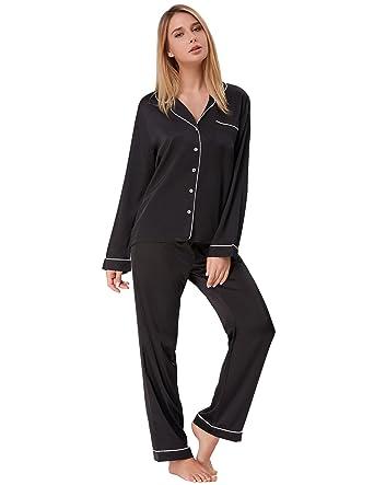 95f851b7d Women's Long Pajamas Set Two Piece Button Down Nightwear Black Size S ZE52-1