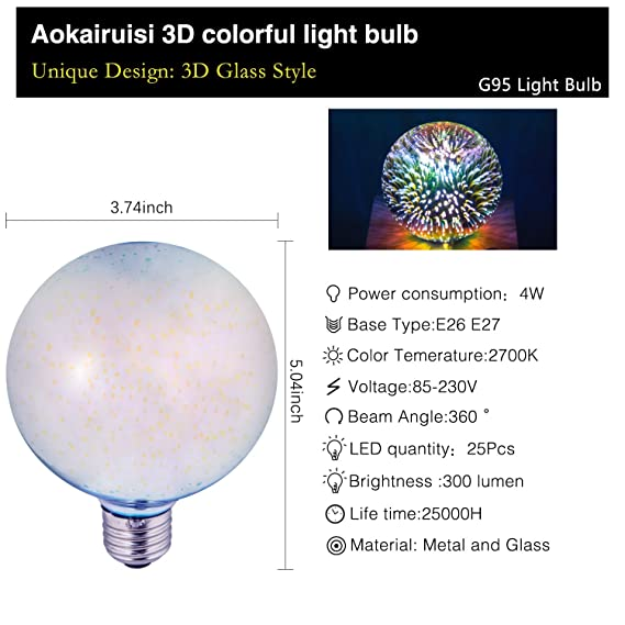 Amazon.com: Aokairuisi 4W 3D Fireworks LED Bulb with E26 Base Colorful Decorative Lamp Filament Bulb Heart Shape for Holiday Home (G125XX): Home & Kitchen