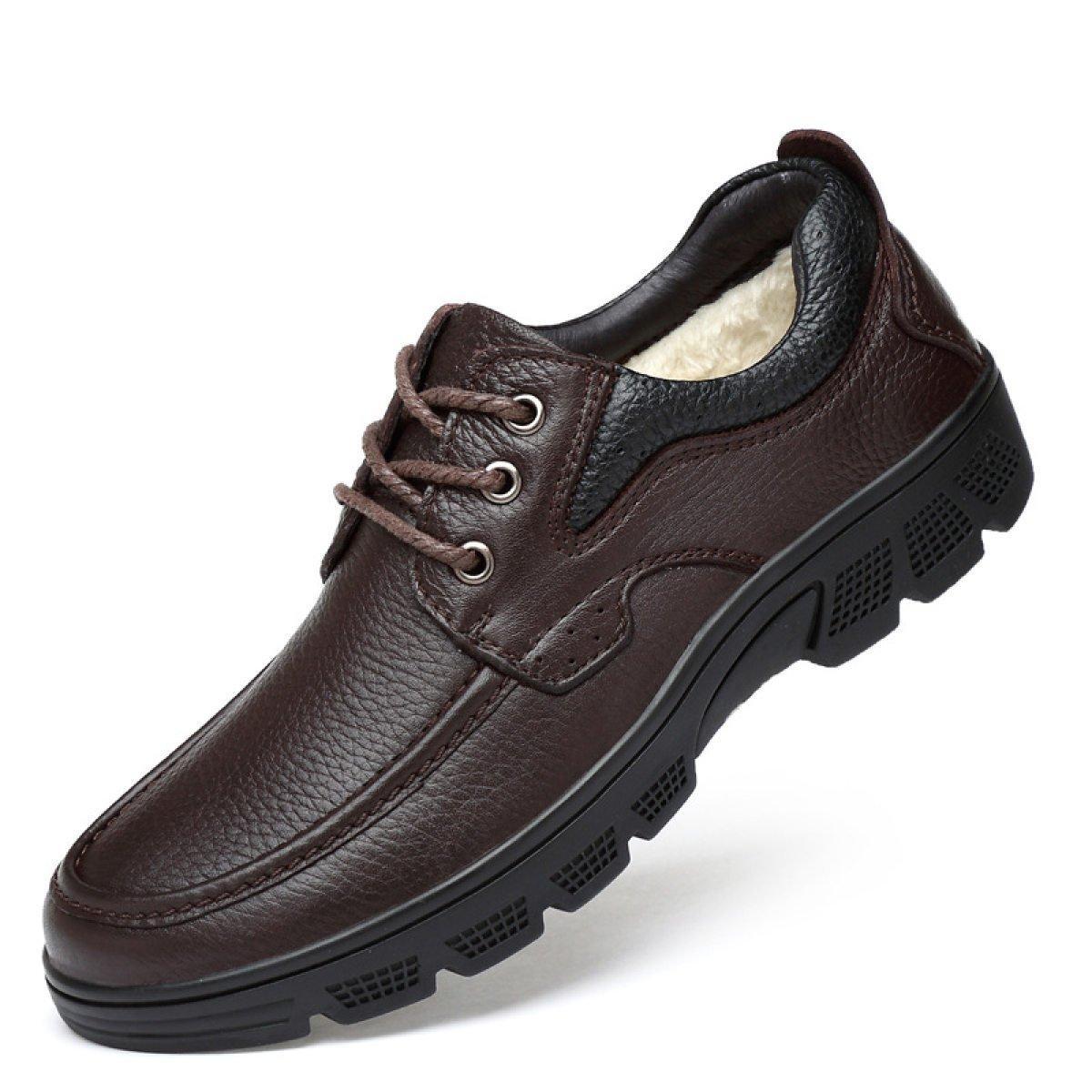 Gran Los Hombres Calientes De Cuero Calientan Los Zapatos De Los Hombres Del Algodón De Los Zapatos En Los Zapatos Mayores Del Papá 36 Brown