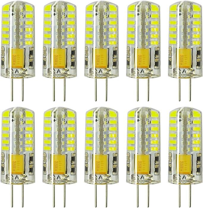 Rayhoo 10pcs G4 LED Bulb Bi-Pin Base 48-LED Light Lamps 3 Watt AC/DC 12V Equivalent to 20W T3 Halogen Track Bulb Replacement LED Bulbs (White 5800-6200K)