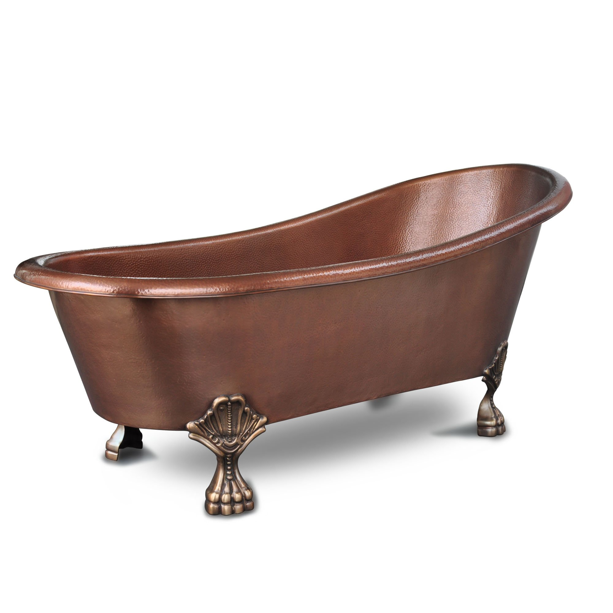 Sinkology TBT-6631CL Heisenberg Handmade Pure Solid Freestanding Claw Foot Bath Tub, 5.5', Antique Copper by Sinkology