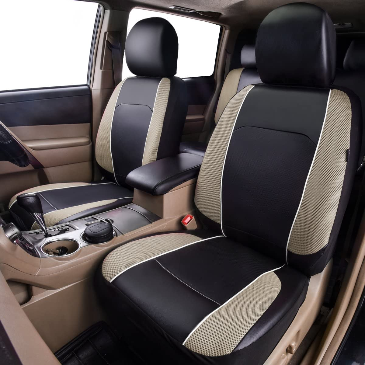 Suvs Trucks Full Seat HORSE KINGDOM Universal Car Seat Covers Faux Leather with Air-mesh Breathable Aibag Compatible Fit Cars Sedans Black with Beige