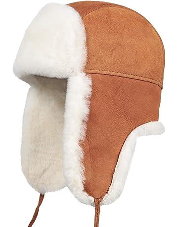 635820b5bc7 Zavelio Unisex Shearling Sheepskin Leather Aviator Russian Ushanka Trapper  Winter Fur Hat