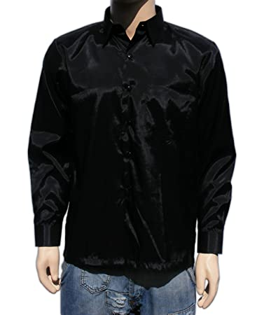 Amazon.com: Men's Thai Silk Shirt Long Sleeved / Sleeves in Black ...