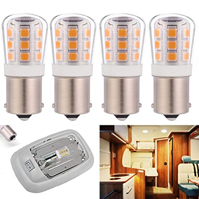 1156 led Light Bulb Replacement 1141 93 P21W 67 12V 35W Halogen Bulb for RV Trailer Camper Interior Reverse Light BA15S Single Contact Bayonet 2.5W 330lm Daylight White 5000K Pack of 4: Automotive