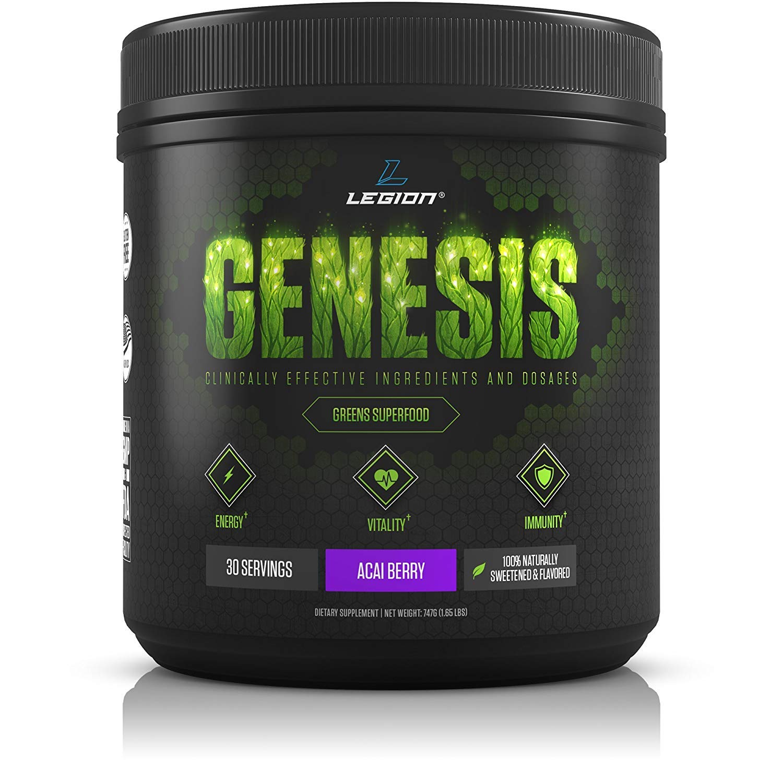 Legion Genesis Green Superfood Powder - With Spirulina, Dandelion, Moringa Oleifera, Maca Powder, Astragalus Root & Reishi Mushroom. All Natural Immune System Booster. Acai Berry, 30 Servings.