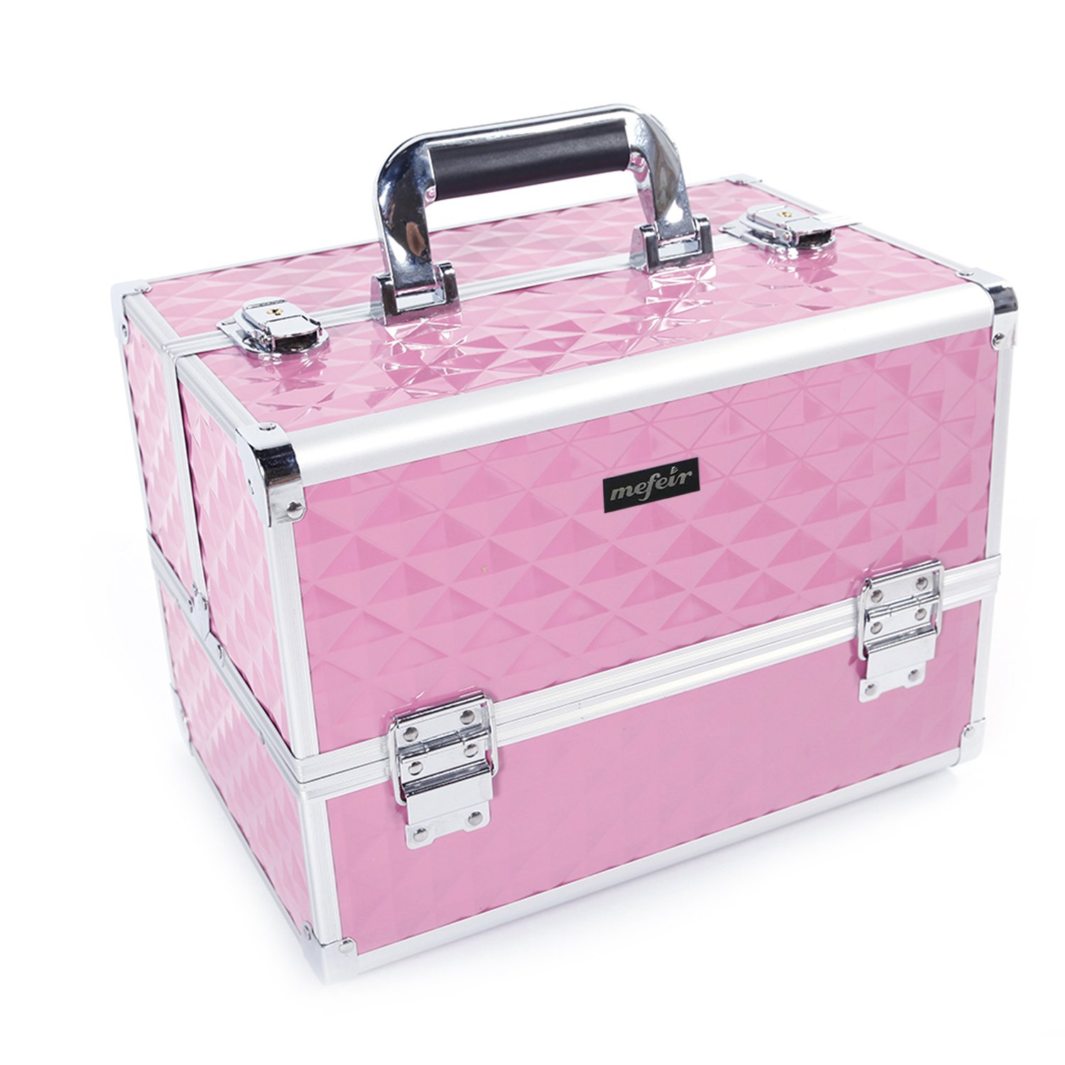 Mefeir Makeup Train Case 12.6''L w/Adjustable Dividers, 4 Trays and 2 Locks Black,Professional Travel Beauty Cosmetic Trolley Box,Birthday Mother's Day Gift (Pink)
