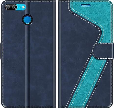 Libro Caso Custodia in Pelle PU e TPU Silicone con Slot Carte e Funzione Staffa per Huawei Honor 9 CAXPRO/® Flip Cover Huawei Honor 9 Blu