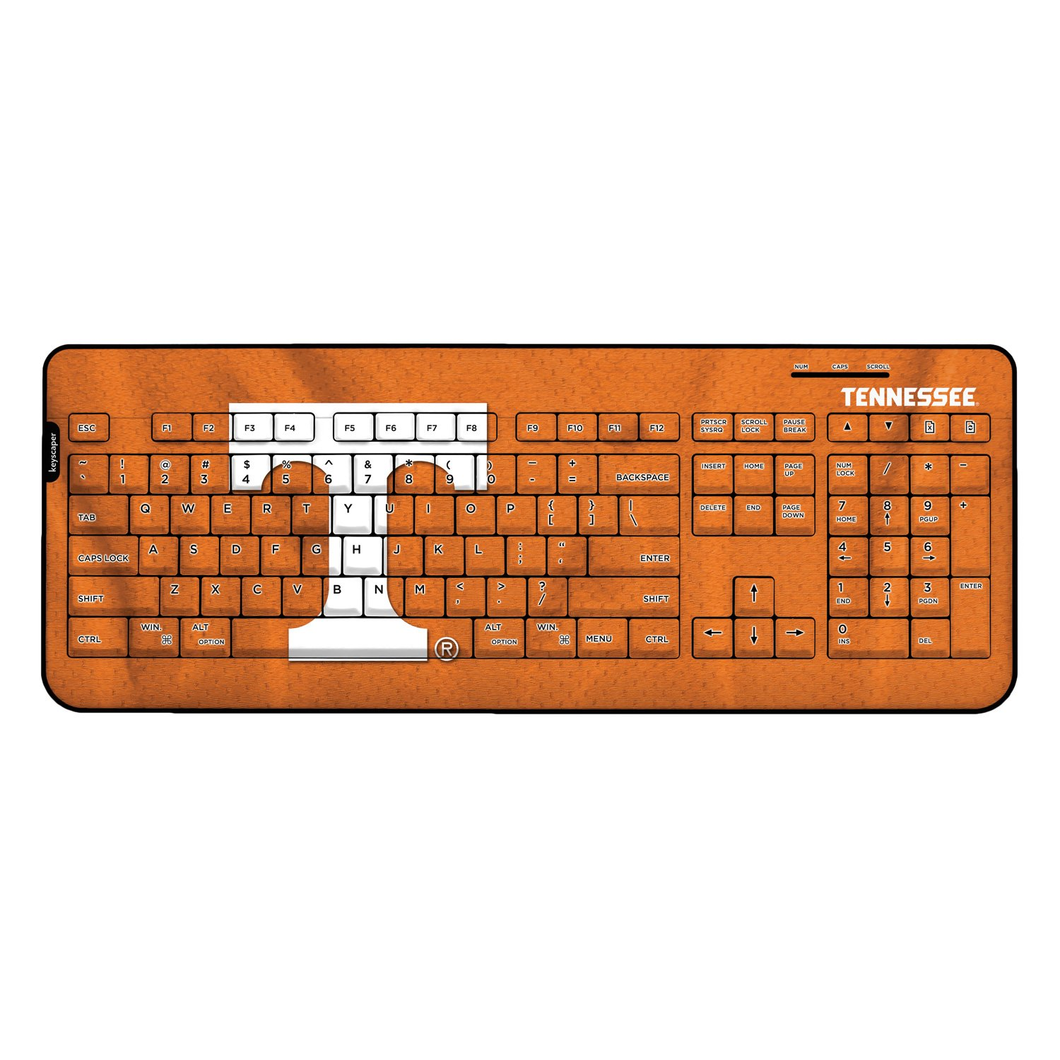 Tennessee Volunteers Keyscaper Wired Keyboard officially licensed by Tennessee Full Size Low Profile Direct Print Plug & Play by keyscaper®