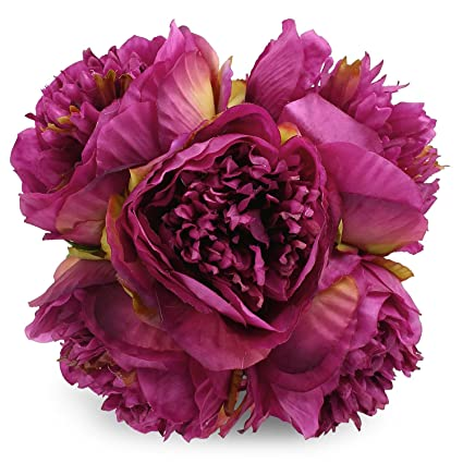 Amazon silk peony bouquet 5 heads purple soledi artificial fake silk peony bouquet 5 heads purple soledi artificial fake flower bunch bouquet bridal bouquet wedding living mightylinksfo