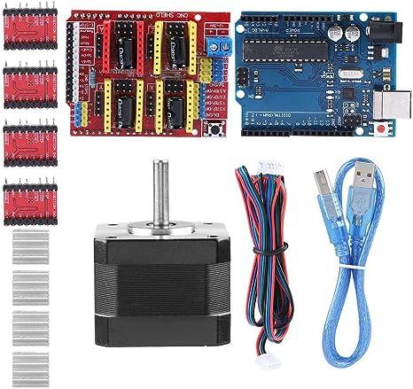Nema 17 Stepper Motor DRV8825 A4988 GRBL Stepper Motor Driver with Heat Sink Kuman Professional CNC Kit for arduino RAMPS 1.4 Mechanical Switch Endstop GRBL CNC Shield +UNO R3 Board