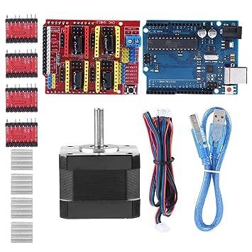 Zerone Kits de Impresora 3D CNC Shield V3.0 + R3 Board + Nema 17 Stepper Motor + 4PCS A4988 Driver + Stepper Motor Controller Kit de Escudo con ...