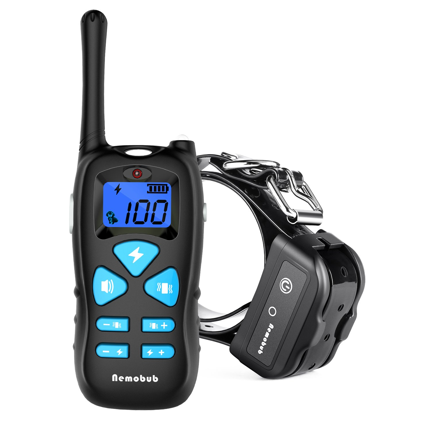 Nemobub Dog Shock Collar 1600ft Remote Training and 100% Waterproof Rechargeable Shock Collar with Beep Vibration and Electric Dog Collar for All Size Dogs