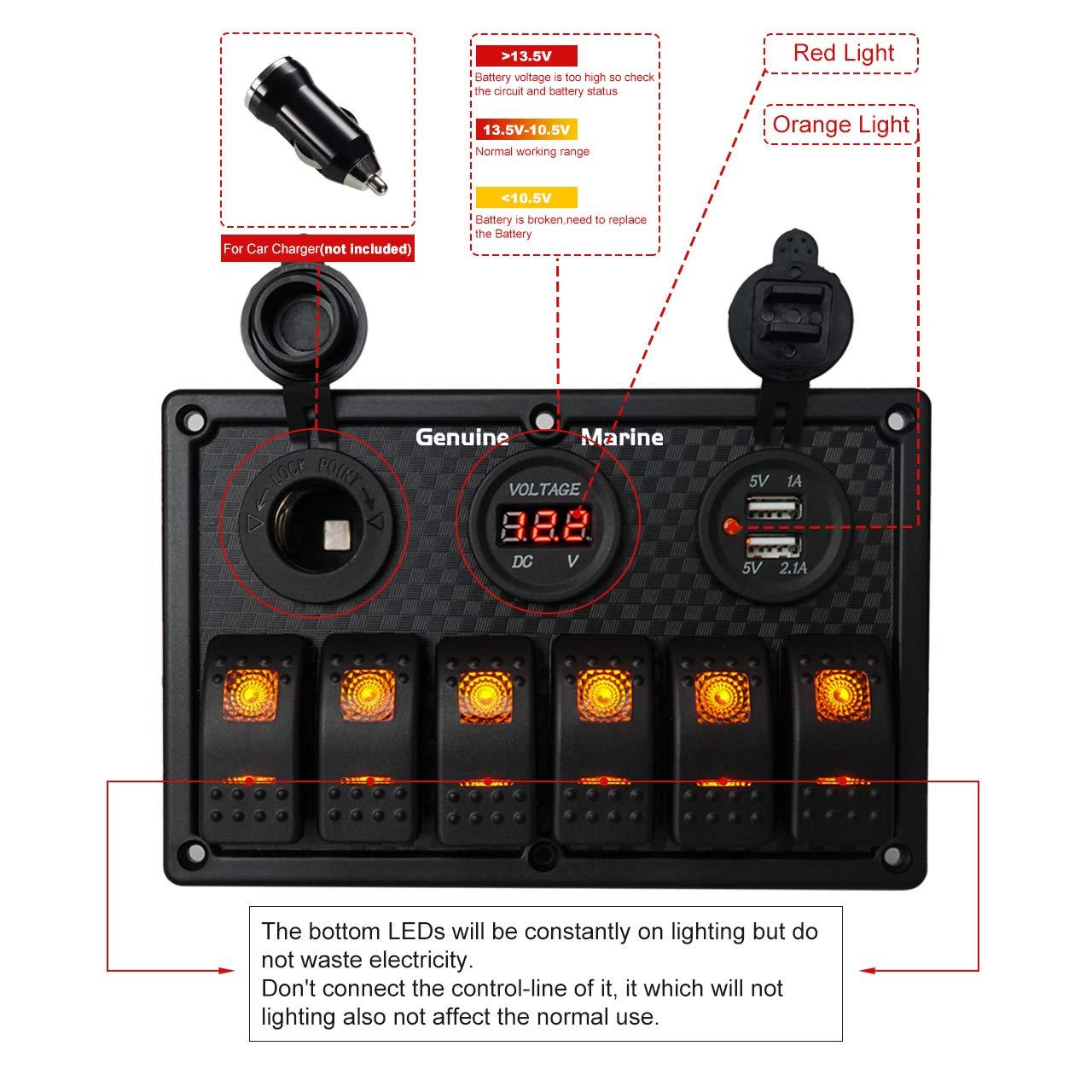 6 8 Gang Rocker Switch Panel Digital Voltmeter Display Dual 5v Schematic Diagram Of Dashboard Usb