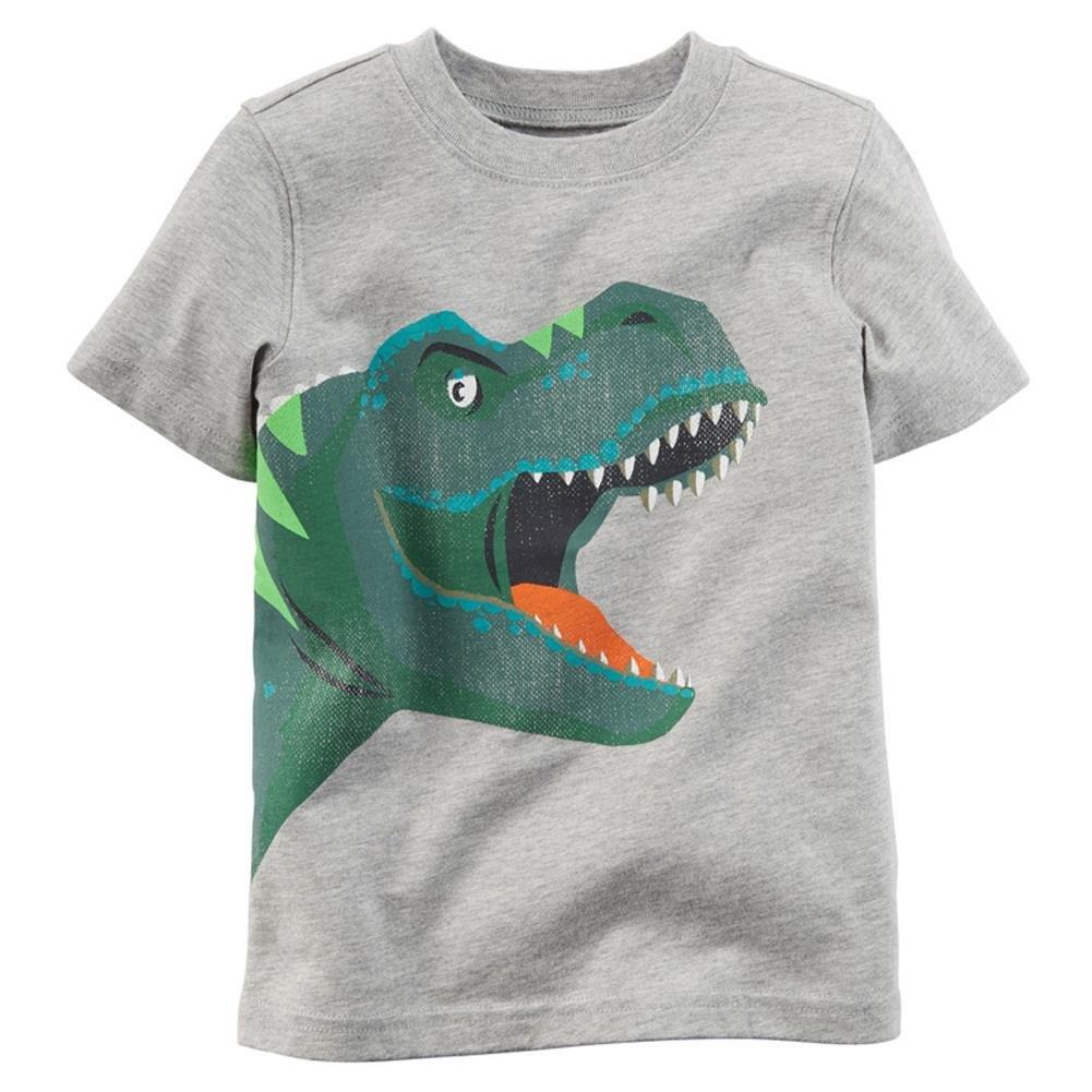 Coralup Little Boys Kid's Top Dinosaur Print T-Shirt (Grey,12 Months-7 Years)