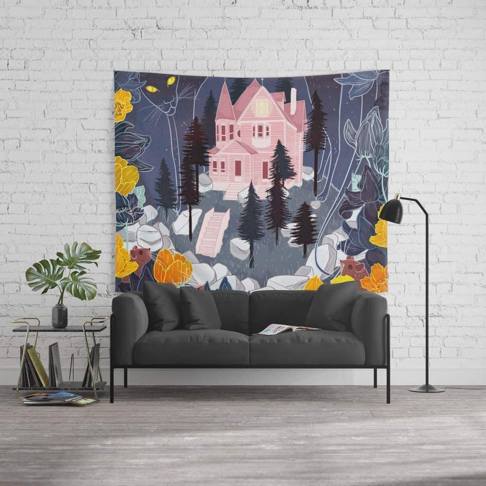 Amazon Com Wenhuamucai Wall Tapestry Size Large 60 X 51 Coraline Decor For Living Room Bedroom Dorm Home Kitchen