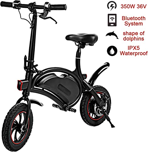 shaofu Folding Electric Bike 350W 36V Electric Bicycle Waterproof E-Bike with 15 Mile Range, Collapsible Frame, and APP Speed Setting