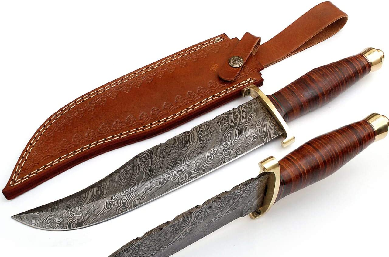 SharpWorld 15 Inches Custom Damascus Hunting Knife Exotic Handle w Leather Sheath TJ116