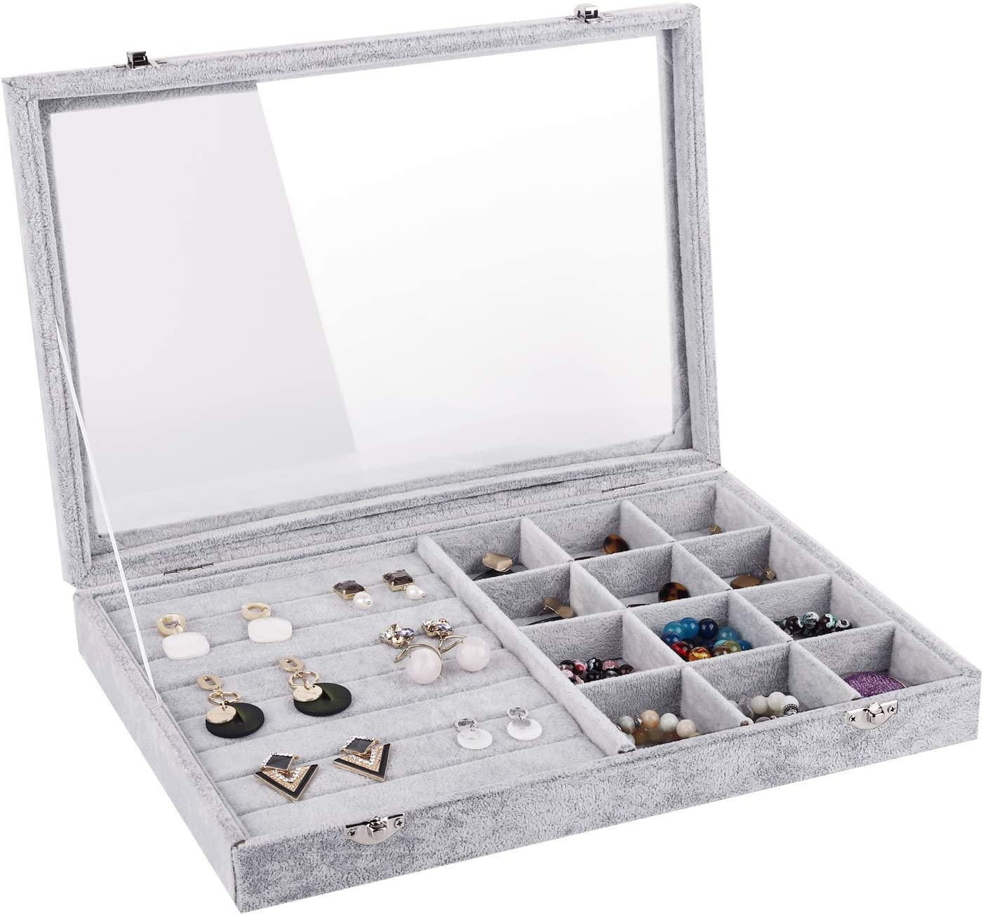 Necklace Jewelry Display Tray Glass Top Lockable Bracelet Storage Organzier Case