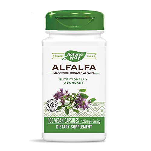 Nature s Way Organic Alfalfa Young Harvest, Premium Formula, 405 mg, 100 Vegan Capsules