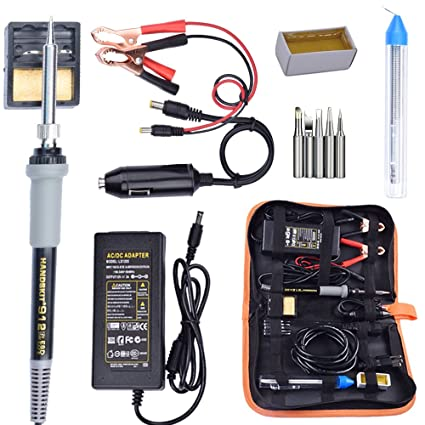 Soldering Iron, Soldering Iron Kit, 35W Adjustable Temperature Welding Tool, 5pcs Solder Soldering Iron Tip, with Car Battery Charger, AC/DC Adapter ...