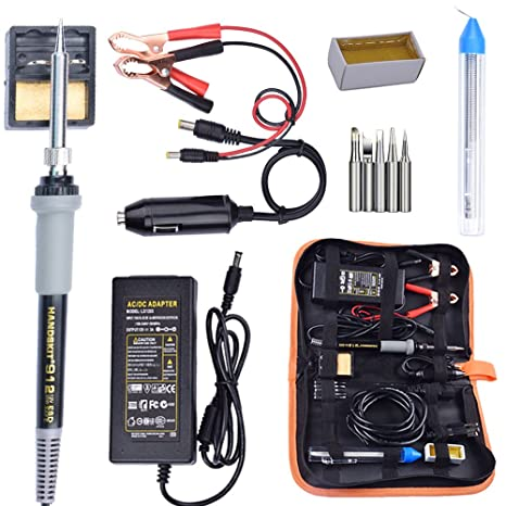 Soldering Iron, Soldering Iron Kit, 35W Adjustable Temperature Welding Tool, 5pcs Solder Soldering