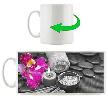 Orchidée fleur spa blanc / noir, Motif tasse en blanc 300ml