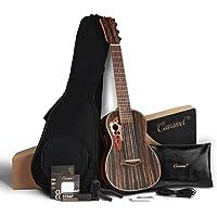 30 inch Caramel CB904G Ebony Wood Electric Guitalele Small Guitar Kit Beginner Guitarlele Starter Bundle Strings, Padded…