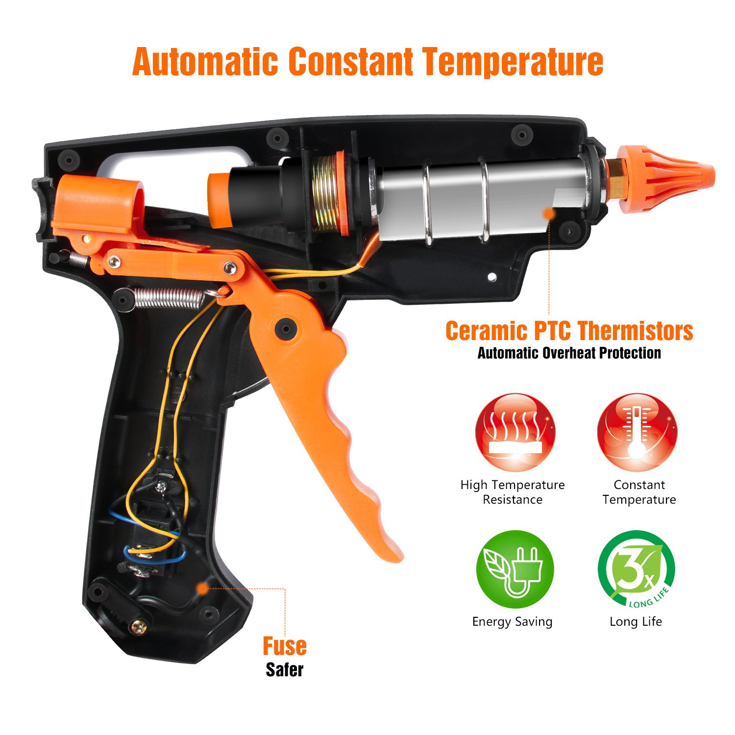 Hot Glue Gun, ABOX 60W Thermostat Hot Melt Glue Gun, Rapid Preheating with PTC Heating Technology,15 Pcs Premium Glue Sticks,Copper Nozzle and ON-Off Switch, DIY Arts &Crafts Projects, Quick Repairs by GooBang Doo (Image #3)