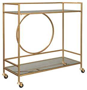 Ashley Furniture Signature Design - Jackford Bar Cart - Mid Century Style - 2 Shelves with Casters - Clear Glass - Antique Gold Finish