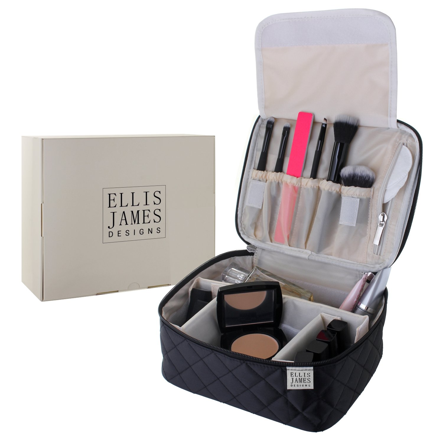 Ellis James Designs Travel Make Up Bag Vanity Case for Women - Black - 2-in-1 Cosmetic Bags Organiser for Makeup and Toiletry Cases - Large Cosmetics Bag with Compartments, Train Case Handle and Brush Pockets ELJ0082
