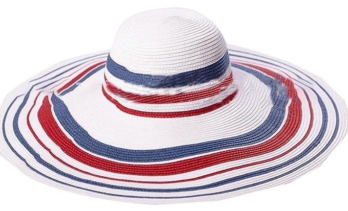 GAGA Women Beach Sun Hat Floppy Summer Cap Straw Foldable Wide Brim  Adjustable Hat Photo Color a38a85db365