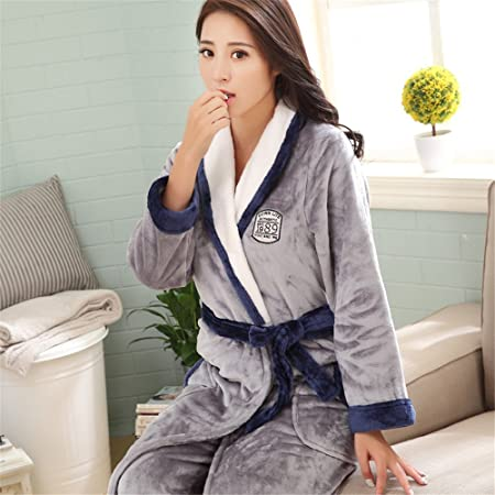 4b036928da A couple of winter Coral Fleece Pajamas men flannel bathrobe Nightgown  female male clothing Home Furnishing