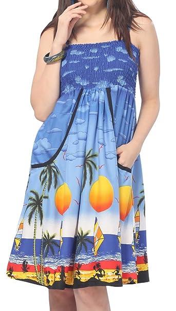 LA LEELA Women\'s Plus Size Tube Dress Casual Beach Party Elegant Dress  Printed C