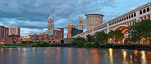 Cleveland Skyline Wall Mural Self Adhesive Wallpaper Multiple Sizes By Magic Murals Amazon Com