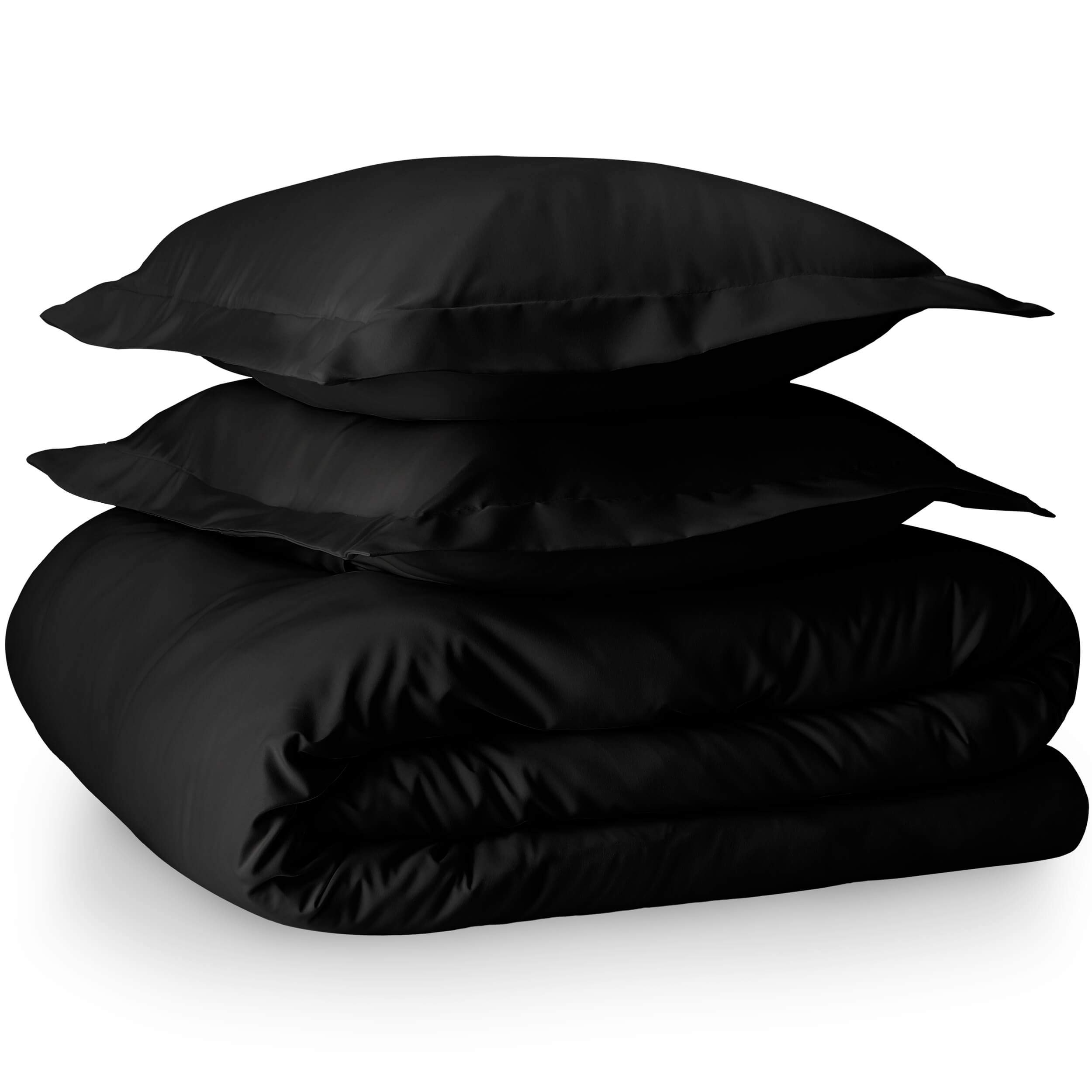 Bare Home Luxury 3 Piece Duvet Cover and Sham Set - Full/Queen - Premium 1800 Ultra-Soft Brushed Microfiber - Hypoallergenic, Easy Care, Wrinkle Resistant (Full/Queen, Black) by Bare Home (Image #3)