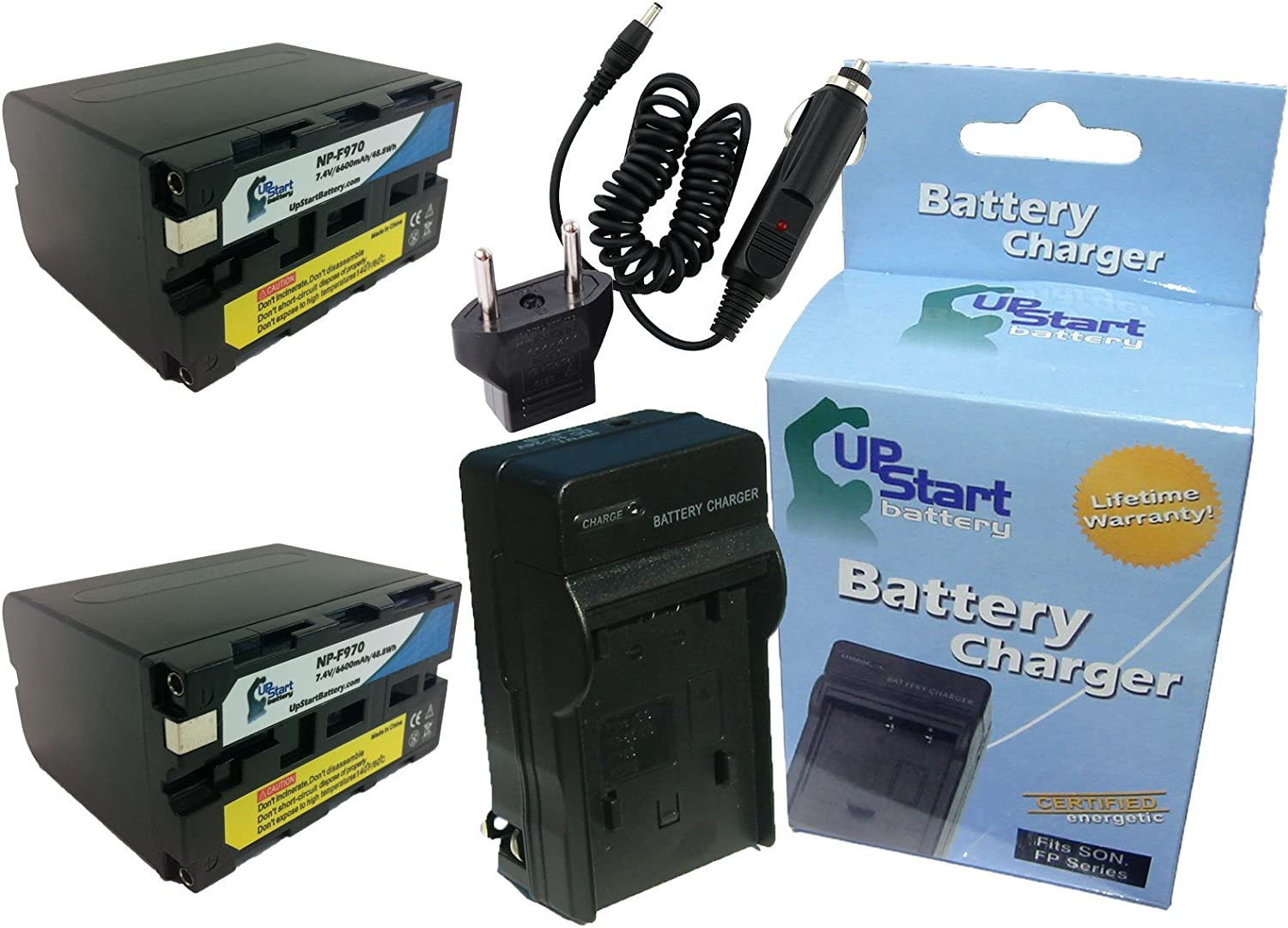 Replacement for Sony DSR-PD170 Battery Charger with Car /& EU Adapters 6600mAh 7.4V Lithium-Ion 2 Pack High Capacity Compatible with Sony NP-F970 Digital Camera Battery and Charger