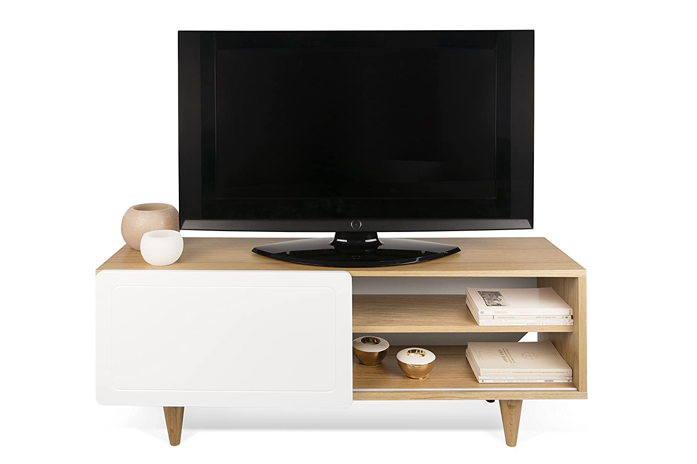 TemaHome - Nyla - Meuble TV en Bois, chêne Blanc, 120 x 34 x 50 cm   Amazon.fr  Cuisine   Maison fdb6387866c3