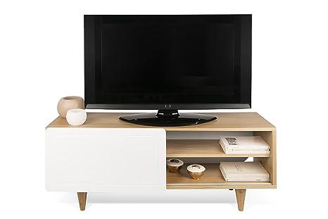 TemaHome Nyla Mueble para la televisión, Madera,Colores Roble/Blanco, 120 x 34 x 50 cm