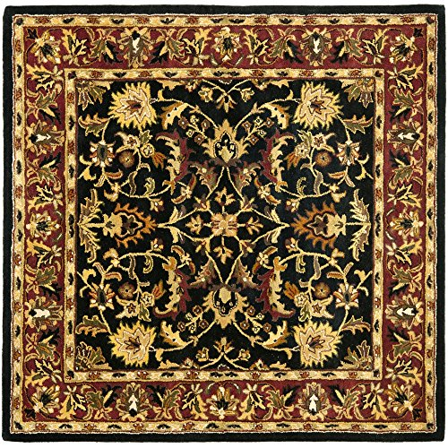 Safavieh Heritage Collection HG953A Handcrafted Traditional Oriental Black and Red Wool Square Area Rug (10' Square) 10 Square Oriental Rug