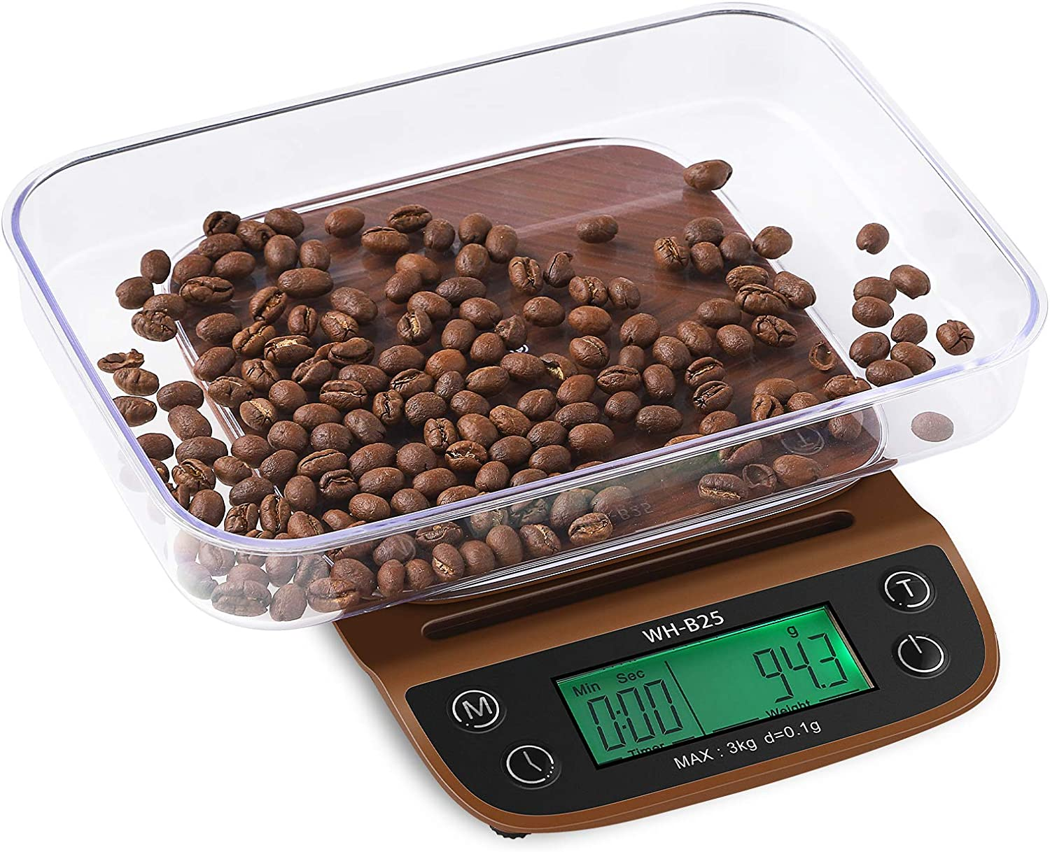 Coffee Scale with Timer, ONEISALL Kitchen Scale with Tray and Heat Resistance Silicone Pad, Multifunction Food Scale postage scale for Pour Over and Drip Coffee, Espresso, Food, Cook, Baking