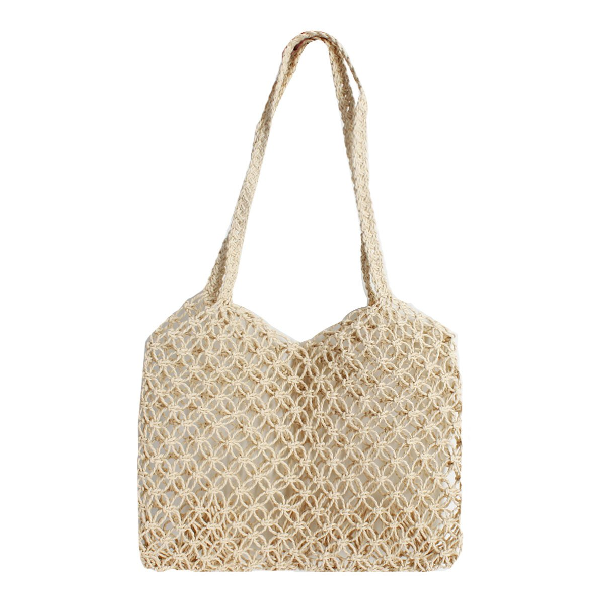 Beige Queena Straw Woven Tote Bag Women Large Capacity Handbag Beach Party Shoulder Purse