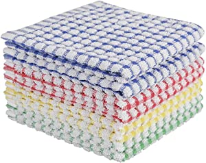 Oeleky Dish Cloths for Kitchen Washing Dishes, Super Absorbent Dish Rags, Cotton Terry Cleaning Cloths Pack of 8, 12x12 Inches