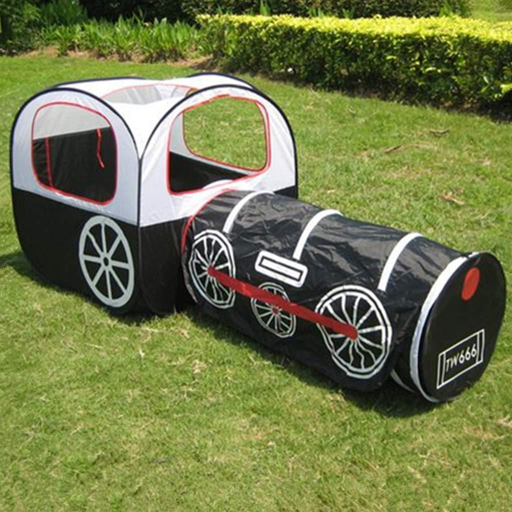 テント 子供 折り畳み式 子供用テント キッズプレイハウス キッズテント車折り畳み式 トンネル室内室外遊具,Black B07TMPNKCN Black