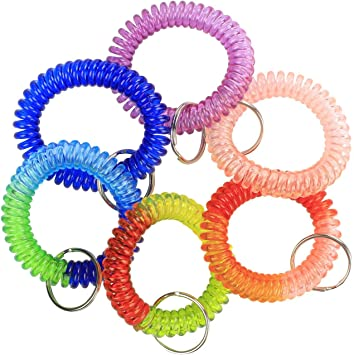 200 Wrist Spiral Stretchable Ring Elastic Multi-Colored Coil Key Chains